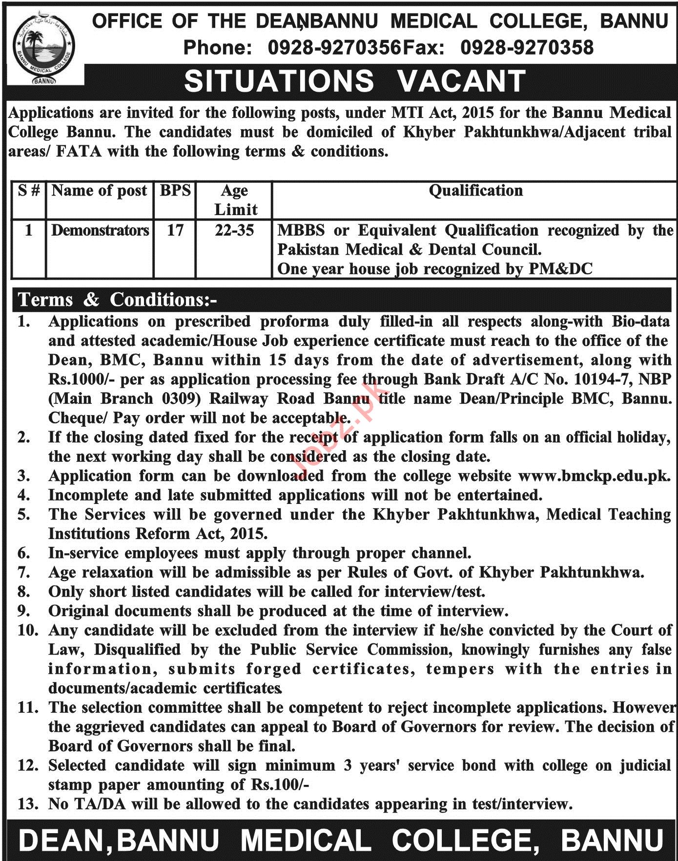Bannu Medical College Bannu Demonstrators Jobs 2019