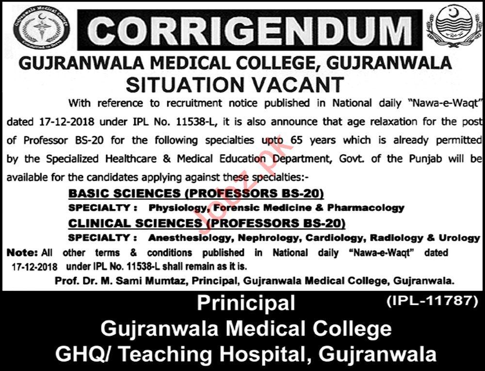 Gujranwala Medical College Jobs 2019 for Professors