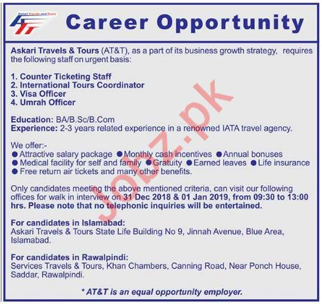 Askari Travel & Tours Islamabad Jobs 2019 Ticketing Staff