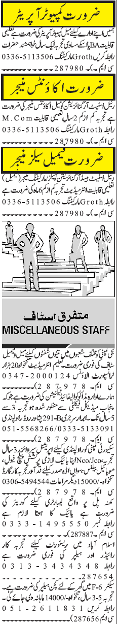 Miscellaneous Staff Jobs Career Opportunity