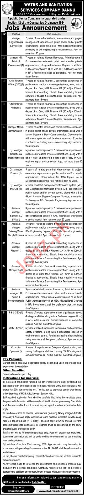 Water And Sanitation Services Company Jobs Through NTS