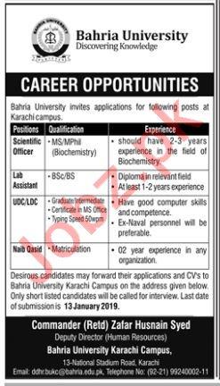 Bahria University Karachi Jobs 2019 for Scientific Officer