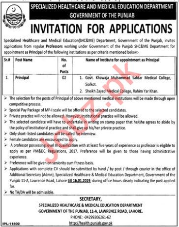 Sheikh Zayed Medical College Rahim Yar Khan Jobs 2019