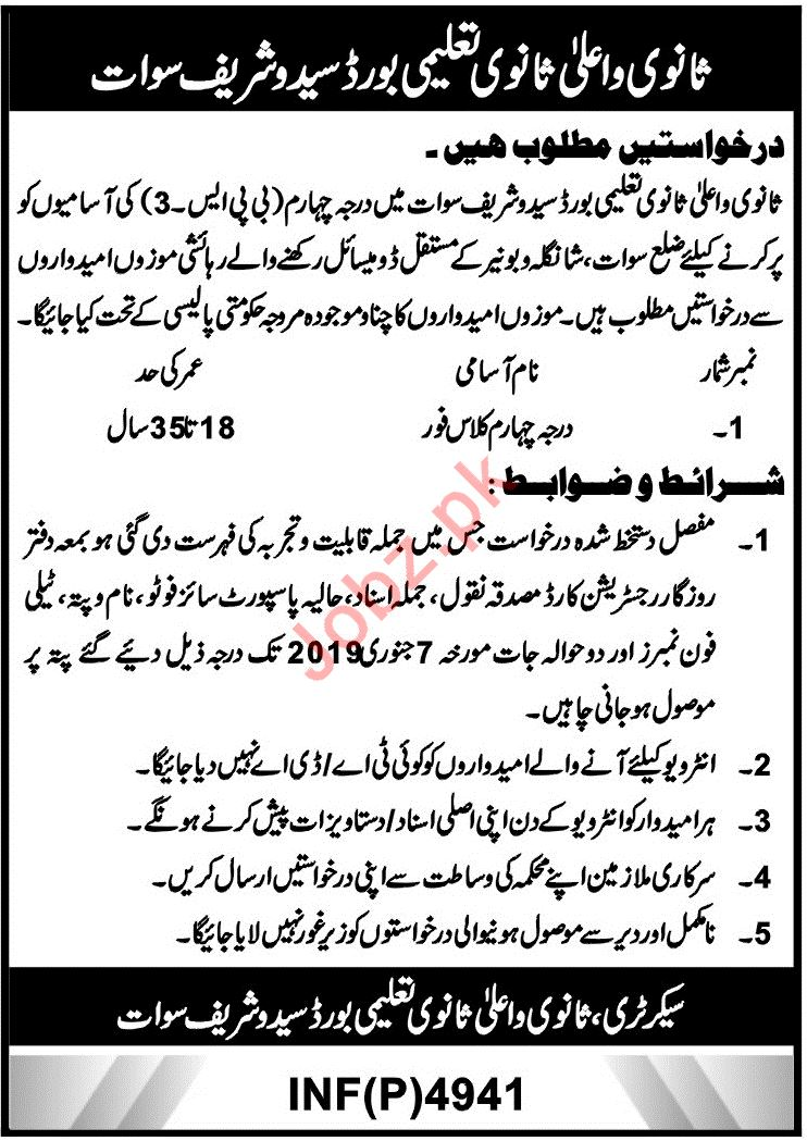 BISE Saidu Sharif Swat Jobs 2019 for Labors