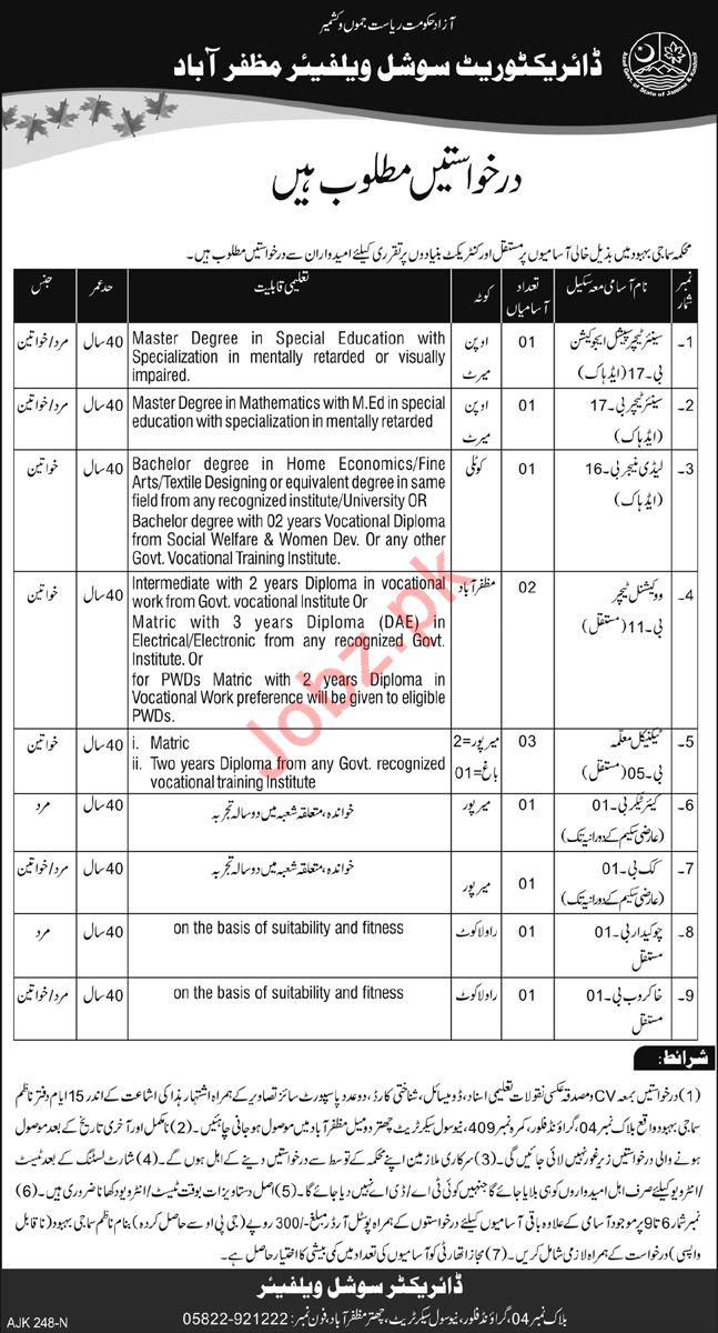 Directorate Social Welfare Muzaffarabad Jobs 2019