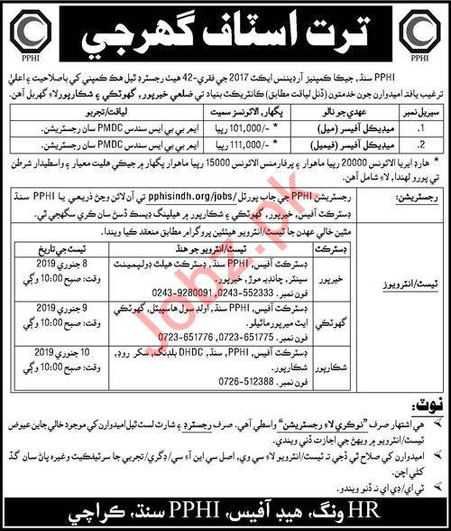 People Primary Healthcare Initiative PPHI Sindh Jobs 2019