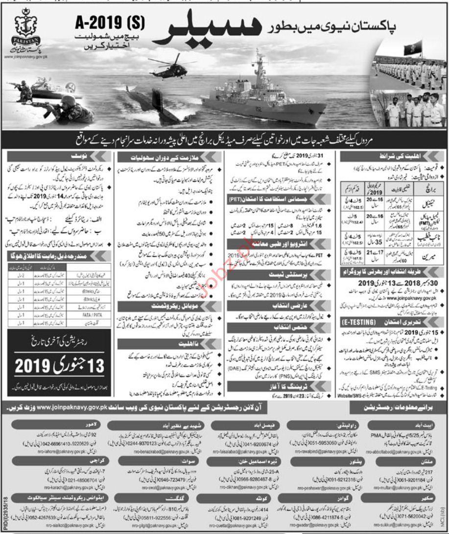 Join Pakistan Navy as Salor 2019