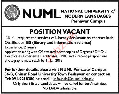 NUML National University of Modern Languages Assistant Jobs