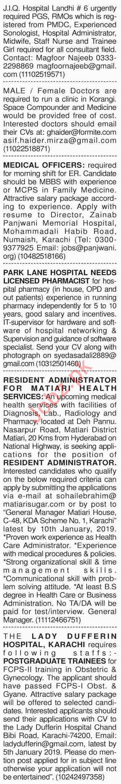 Dawn Sunday Newspaper Medical Classified Ads 30/12/2018