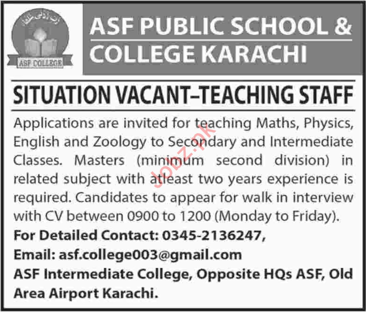 89a7a7eaadb ASF Public School Math Teacher Jobs 2019 Job Advertisement Pakistan