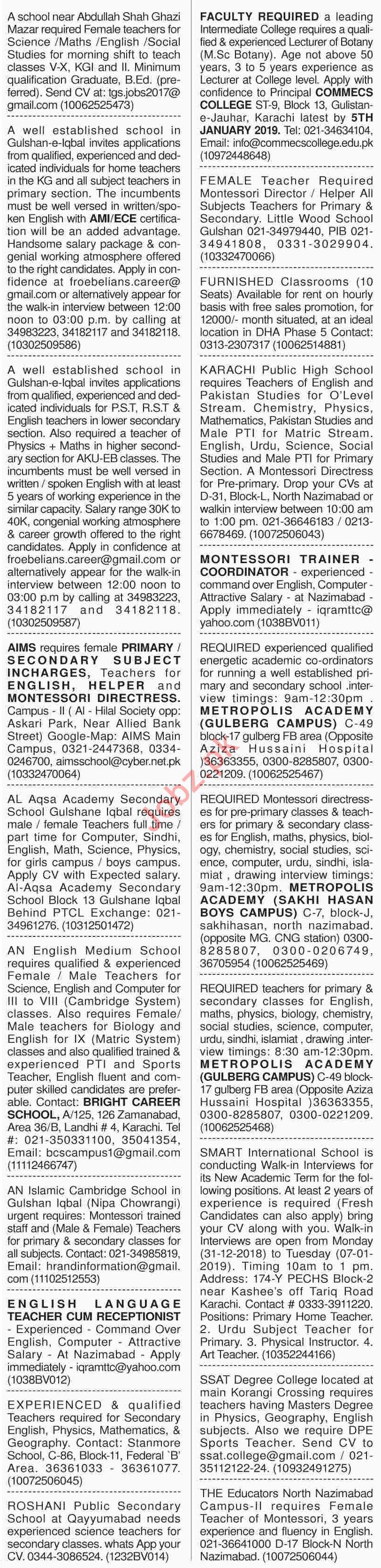 Dawn Sunday Newspaper Teachers Classified Ads 30/12/2018