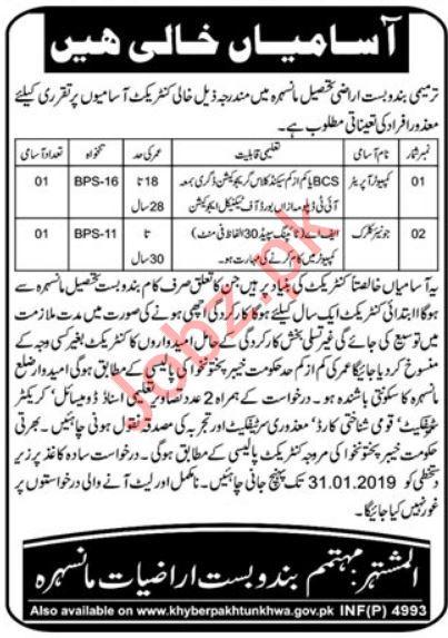 Computer Operator & Junior Clerk Jobs 2019 in Manshera KPK