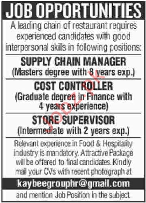 Supply Chain Manager Jobs at Restaurant Chain