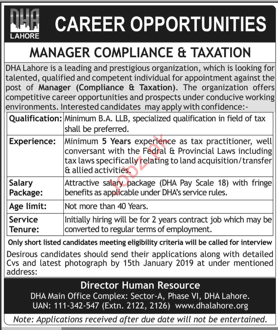 DHA Lahore Manager Compliance & Taxation Jobs 2019