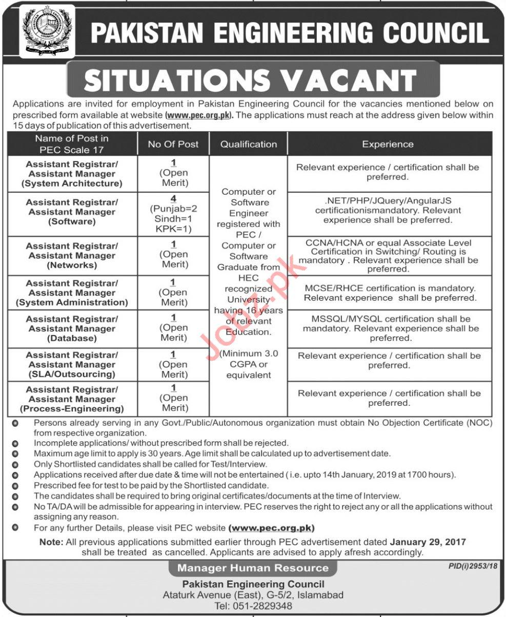 Pakistan Engineering Council PEC Assistant Registrar Jobs