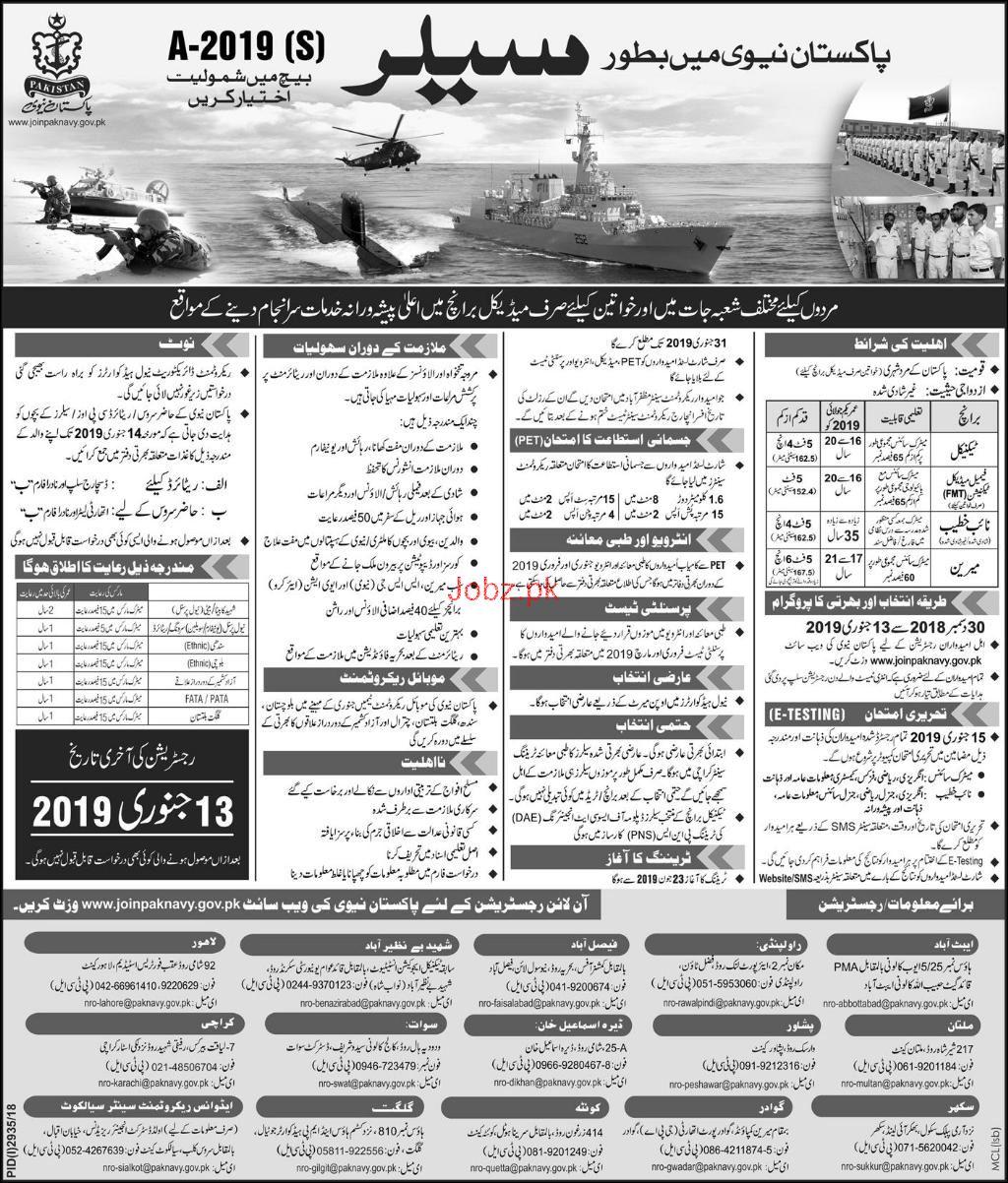 Recruitment as Sailor in Pakistan Navy