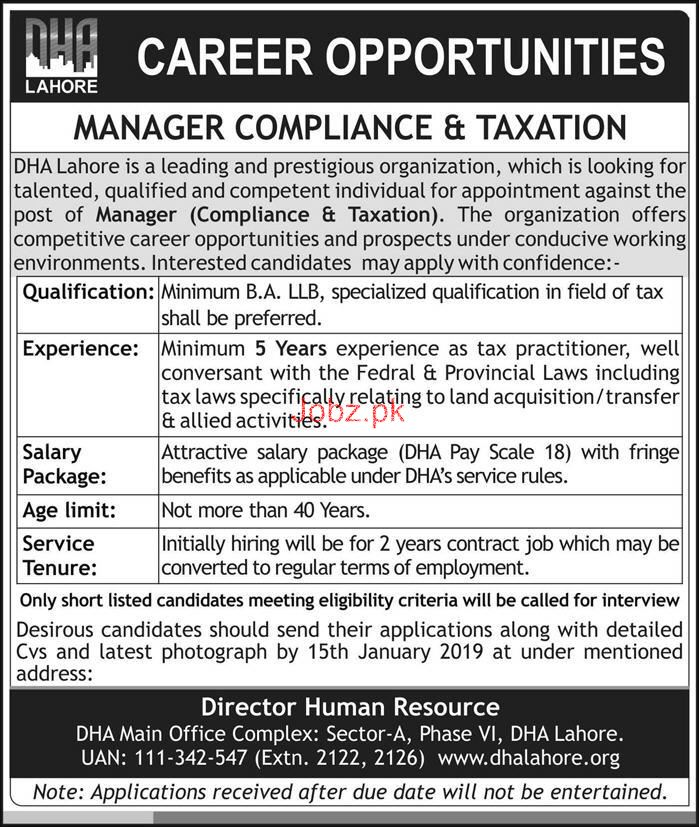 Manager Job in Defence Housing Authority DHA
