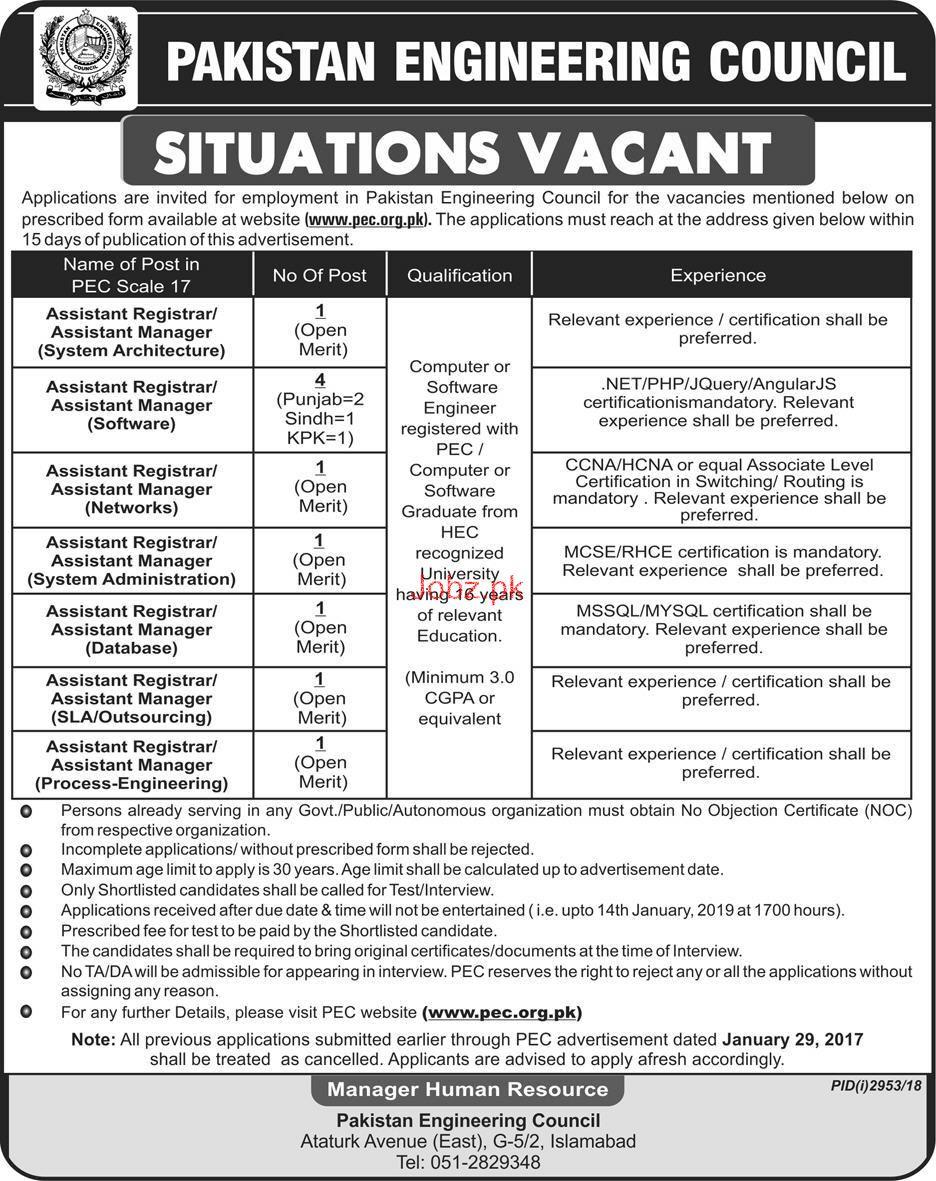 Assistant Registrar Job in Pakistan Engineering Council
