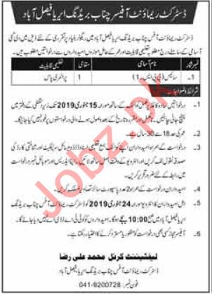 District Remount Office Chanab Breeding Area Faisalabad Job