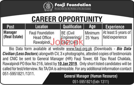 Manager Job in Fauji Foundation