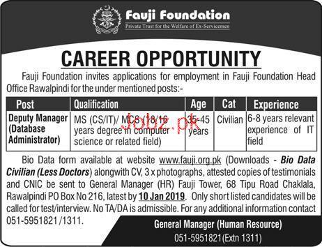 Deputy Manager Job in Fauji Foundation