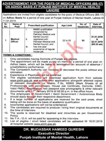 Punjab Institute of Mental Health Medical Officer Jobs