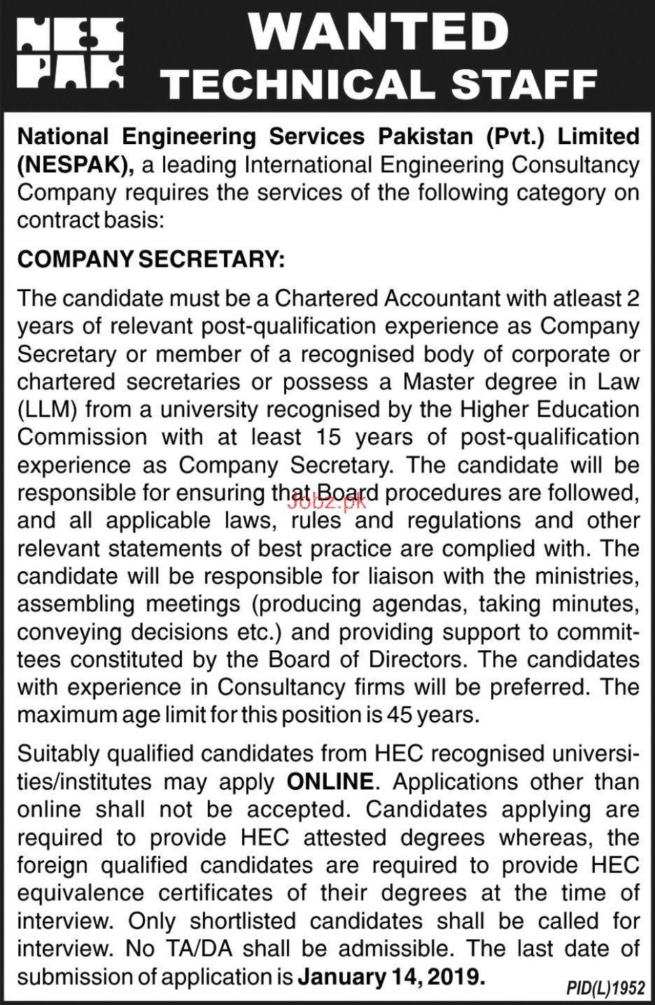 Company Secretary Job in National Engineering Service