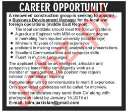 Business Development Manager Jobs at Construction Company
