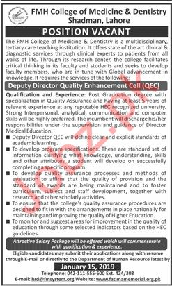 Deputy Director Quality Enhancement Cell Jobs at FMH College