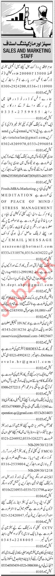 Jang Sunday Classified Ads 30th Dec 2018 for Sales Staff