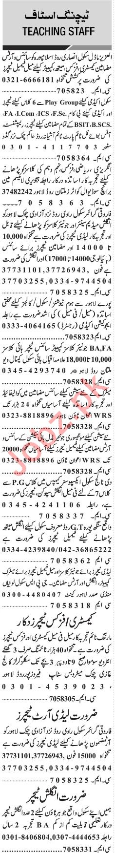 Jang Sunday Classified Ads 30th Dec 2018 for Teaching Staff