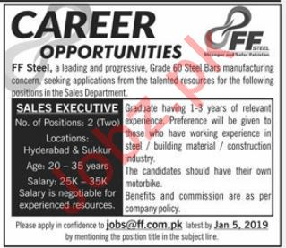 FF Steel Manufacturing Industry Sales Executive Job 2019