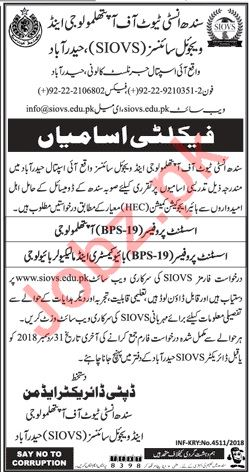 Sindh Institute of Ophthalmology & Visual Sciences Jobs 2019