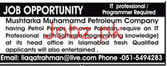 IT Professionals Job in Mushtaka Muhammad Petroleum Company