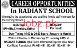Female Teacher Job in Radiant School