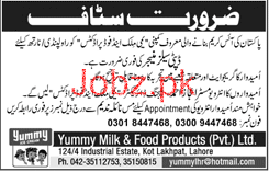 Deputy Sales Manager Job in Yummy Milk & Food Products