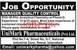 Manager Quality Control Job in Unimark Pharmaceutical
