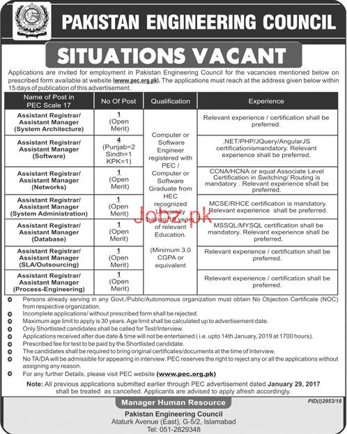 Pakistan Engineering Council PEC Job 2019