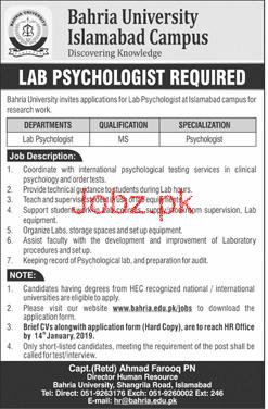 Bahria University Islamabad Campus Lab Psychologist Jobs