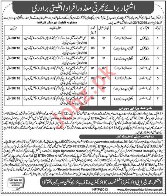 Directorate of Higher Education Jobs 2019 in Peshawar KPK