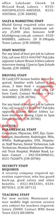 Male & Female Staff Jobs 2019 in Lahore