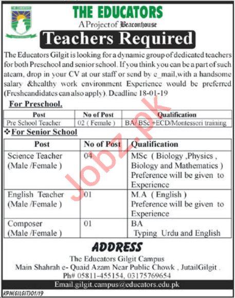 The Educators Gilgit Campus Jobs 2019 for Teachers