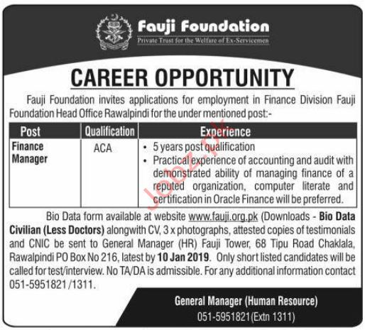 Fauji Foundation Finance Manager Jobs 2019