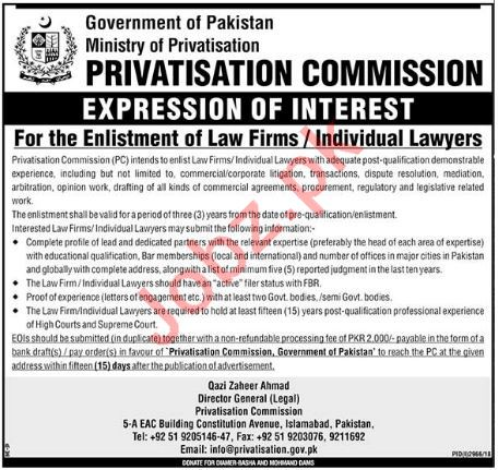 Privatisation Commission Islamabad Jobs 2019 for Lawyer