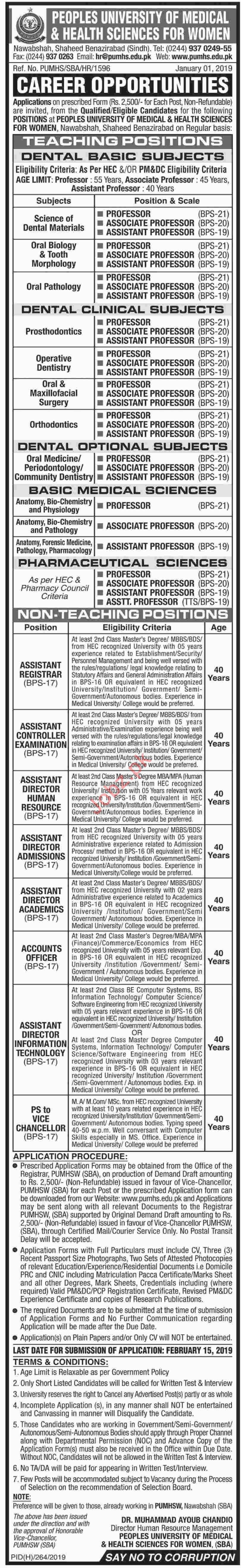 Peoples University of Medical & Health Sciences PUMHS Jobs