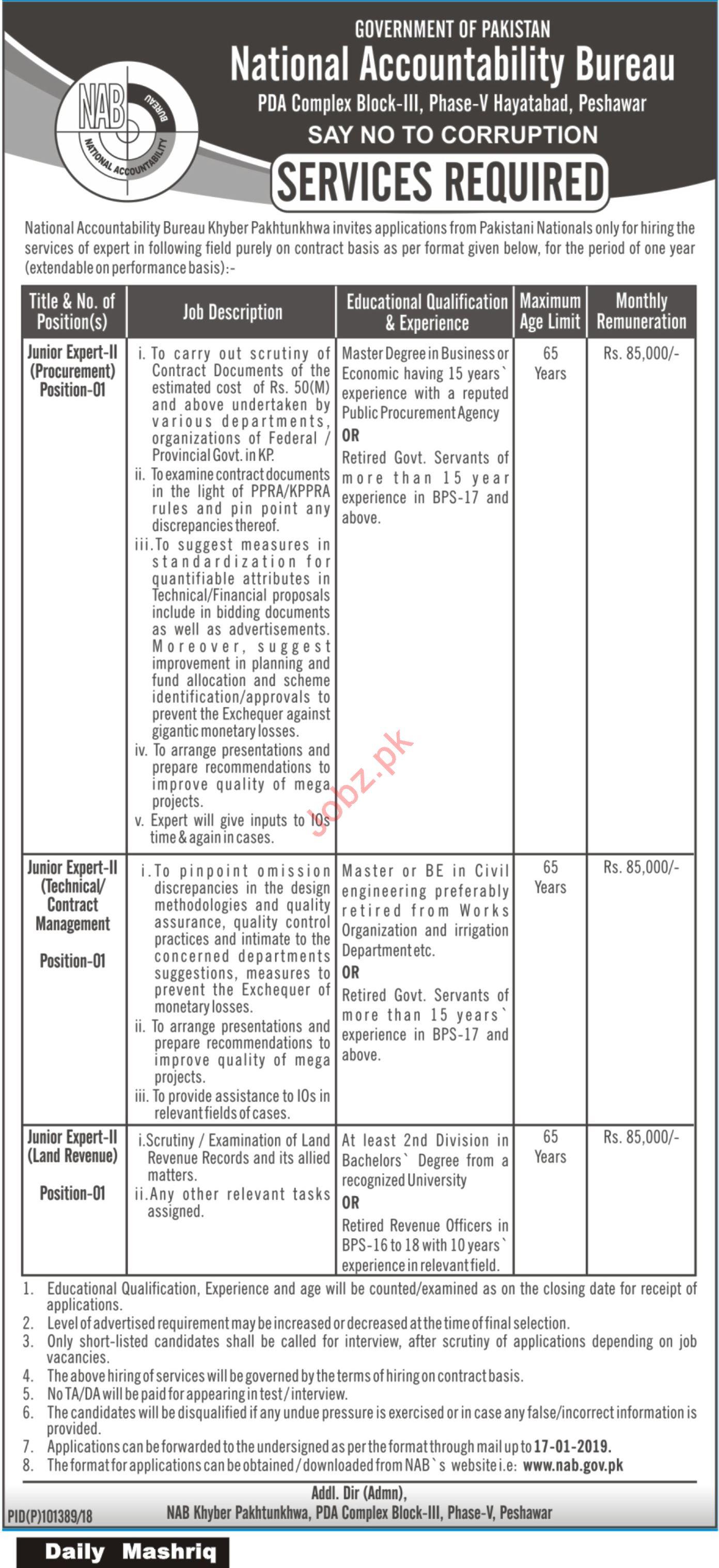 National Accountability Bureau NAB Peshawar Jobs 2019