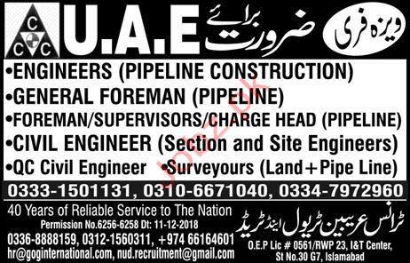 Engineer Pipeline Construction Jobs in UAE 2019 Job