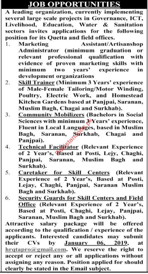 Marketing Assistant Jobs in Private Organization