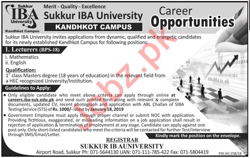 Mathematics Lecturer Jobs at Sukkur IBA University