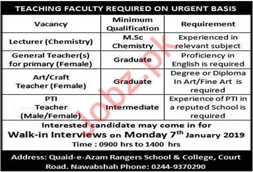 Quaid e Azam Rangers School & College Walk In Interviews